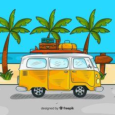 Art Drawings For Kids, Car Drawings, Cartoon Drawings, Combi Ww, Travel Clipart, Bus Art, Backgrounds Free, Illustrations, Anime Art Girl