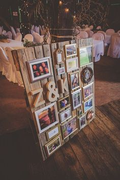 wedding pallet collage using frames, velcro and old pallets / http://www.himisspuff.com/rustic-wood-pallet-wedding-ideas/
