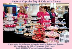 We are pleased to announce the following Malls have Confirmed for the national cupcake Day on the 28th of September 2013.....  Johannesburg: Fourways Mall, East Rand Mall, Clearwater Mall, The Glen, Greenstone, Cresta Pretoria: Menlyn, Woodlands, Centurion, The Grove, Kolonnade Cape: Canal Walk, Blue Route Mall, Tygervalley...