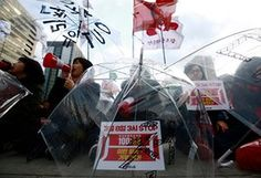 A rally today in Seoul, South Korea, to mark International Women's Day.