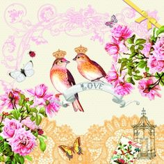 Servietten zur Hochzeit, Ereignisse - Hochzeit, Blumen - Rosen, Ereignisse - Liebe, Everyday, lunchservietten, Vögel, Liebe, Hochzeit, Rosen