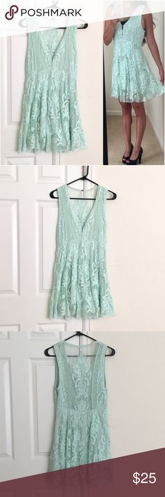 Free People Reign Over Me Dress FP Lace Dress. Mint green/sea foam color. Marked size 4 (I am size 6 for reference) Free People Dresses