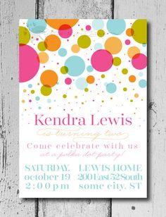 Polka Dot Party  Birthday Invitation Custom by LittleRainyLane, $10.00
