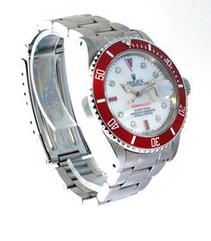 03076f254e0 Rolex Submariner Steel Diamonds   Red Rubies - White MOP