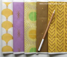 Native Modern Collection by Michele Rosenboom.  Pictured in Gold.  Available on Spoonflower
