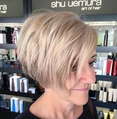50 Age Defying Hairstyles for Women over 60 - Hair Adviser - Blonde Layered Jaw-Length Asymmetrical Wedge Bob - Over 60 Hairstyles, Older Women Hairstyles, Straight Hairstyles, Cool Hairstyles, Haircuts For Over 60, Layered Hairstyles, Haircut For Older Women, Short Hair Cuts For Women, Short Hair Over 60