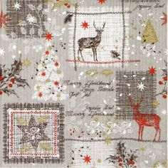 4x Paper Napkins - D'Inverno grey - for Party, Decoupage Craft