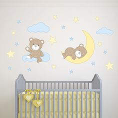 Teddy Bear Wall Stickers Simply peel and stick the Enchanted Interiors premium self adhesive fabric nursery wall decals to create a magical space within hours! Traditional Brown Bears, with blue and yellow