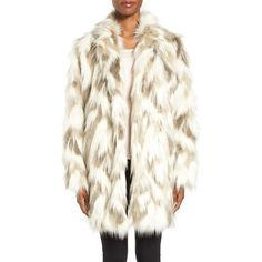 Women's Tahari Phoebe Multicolor Faux Fur Coat ($238) ❤ liked on Polyvore featuring outerwear, coats, tahari coats, oversized faux fur coat, multi colored coat, tahari and white fake fur coat