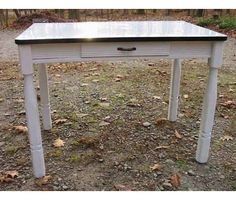 old porcelain top kitchen table w/drawer