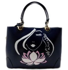 """Aashirya – Namaste Lotus by Shantessi.com Hand Painted Leather Bag   Aashirya means """"from the land of God"""" and I painted her with a white lotus, to symbolize the purity of a beautiful soul.  Namaste is an indian greeting, old as the Vedas and it means """"The Divine In Me – Salutes – The Divine In You!"""". It will bring you a moment of peace and calm and attract very good vibes. Colors: navy blue. 33x24x12. Real leather bag.  Ships worldwide from Romania"""