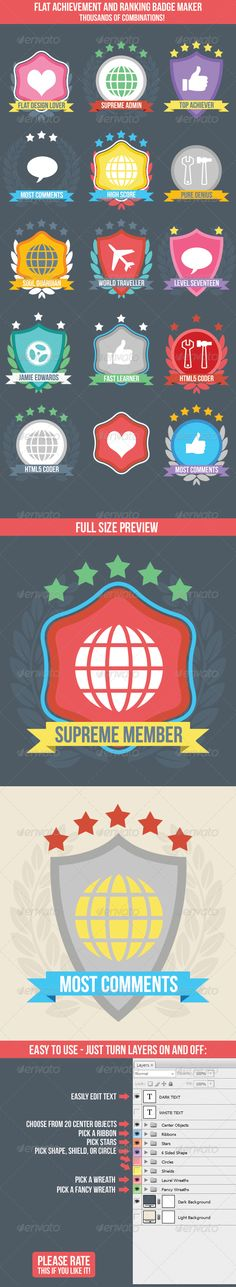 Flat Badge Maker for Ranking or Achievement | Buy and Download: http://graphicriver.net/item/flat-badge-maker-for-ranking-or-achievement/6961033?WT.ac=category_thumb&WT.z_author=jamieedwards&ref=ksioks