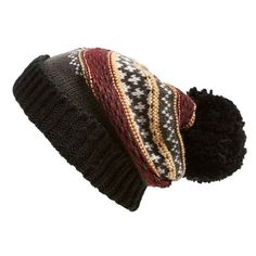 Free People 'Snow Bound'PompomBeanie (200 RON) ❤ liked on Polyvore featuring accessories, hats, beanie, black combo, pom beanie, beanie hats, pom pom beanie, black beanie hat and free people
