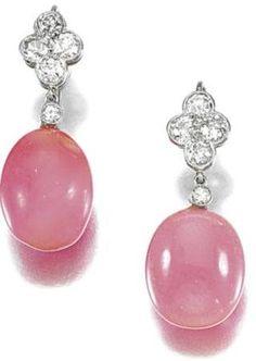 Belle Epoque Conch pearl & diamond earrings, c. 1901 to 1915,
