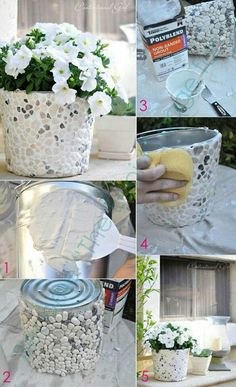 stone mosaic out of tin can Flower Pots, Flowers, Diy Flower, Diy Gifts, Decoupage, Diy Home Decor, Diy And Crafts, Easy Diy, Projects To Try