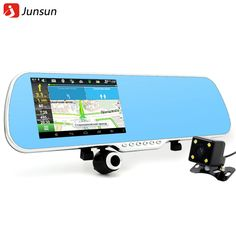 Junsun 5 inch IPS Car GPS Navigation 16GB DVR Rearview mirror Android 4.4 Dual Camera Truck vehicle gps Navigator Europe Navitel >>> Be sure to check out this awesome product.