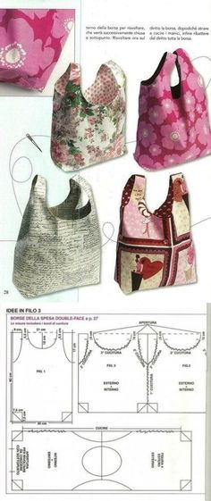 Patchwork bags ideas free sewing New Ideas Handbag Patterns, Bag Patterns To Sew, Sewing Patterns, Tote Pattern, Patchwork Bags, Quilted Bag, Bag Quilt, Sacs Louis Vuiton, Bag Packaging