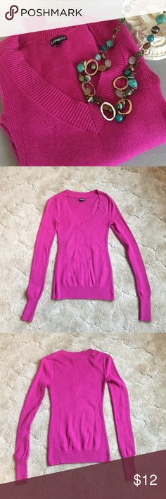 Express Sweater Beautiful deep pink v neck sweater by Express. Size XS. Slight pilling under arms. In good pre-loved condition. Express Sweaters V-Necks