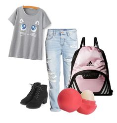 """""""My Look To School"""" by prettyliarxs on Polyvore featuring Topshop, adidas and Eos"""