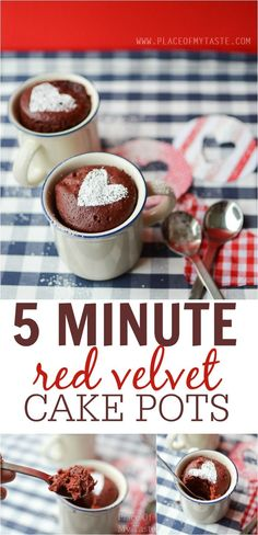 5 MINUTE RED VELVET CAKE POTS-Placeofmytaste.com  Dessert in 5 minutes? Yep, it is possible! Come and learn how to make these pretty red velvet cake pots!!
