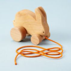 Waldorf inspired Handmade Wooden Bunny Pull Toy.