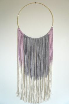 """Wall Hanging: Dreamweaver in FIG. Hand dyed cotton in GREY/BLUE and Purple ombre. 24-28"""" in length (approx). Hand dyed & Handmade. by DreamingGypset on Etsy"""