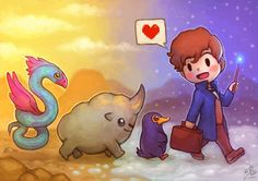 Newt and his SUPER ADORABLE fantastic beasts!  <3  Artwork by: http://ry-spirit.deviantart.com/