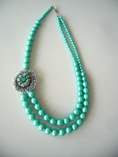 Pearl teal necklace by stavroula on Etsy, $50.00