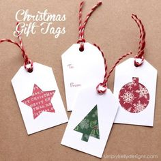DIY Christmas Gift Tags With Scrapbook Paper Scraps And Free Cut File by Simply Kelly Designs christmas tags DIY Christmas Gift Tags With Scrapbook Paper Scraps And Free Cut File Christmas Present Tags, Easy Diy Christmas Gifts, Christmas Labels, Christmas Tree With Gifts, Christmas Scrapbook, Christmas Crafts, Christmas Stockings, Homemade Gift Tags, Diy Weihnachten
