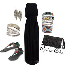 """""""Indian Summer"""" by rodeo-chic on Polyvore, Aztec inspired, Navajo, native American beading, fringe bag, strapless maxi dress"""