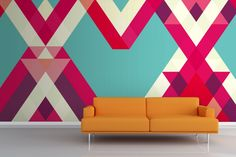 Abstract Geometric Heart Wallpaper - Not your grandma's wallpaper!