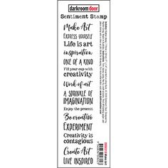 """Darkroom Door Sentiment Stamps are mounted on cling foam. Use as an entire strip of sentiments on your cards and projects, or trim each sentiment into individual stamps. Suitable for card making, art journals, mixed media and more! Darkroom Door rubber stamps are known for their durability, deep etching and high image detail.   Size: 178mm x 36mm (7"""" x 1.4"""").  Designed by Rachel Greig. Made in Australia. Stamp Making, Card Making, Make Art, Make Me Smile, Friendship, Stamps, Art Journals, Mixed Media, Cards"""