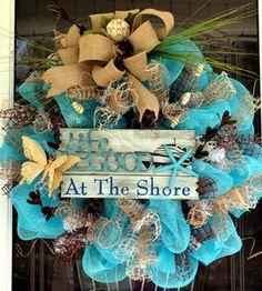 #summer #wreath #mesh #seashore  www.wreathsfordoor.com  149.99