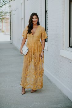 Get all of the perks of a romper AND all of the perks of a maxi dress with this lace overlay romper! Evening Dresses Plus Size, Cheap Evening Dresses, Plus Size Maxi Dresses, Summer Dresses For Women, Lace Maxi Romper, Romper Dress, Yellow Lace Dresses, Yellow Maxi, Designer Plus Size Clothing