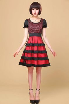 Flower Pattern Top, pattern dress, Short Sleeve Dress, cute dresses, summer dress, midi dress, Stripe dress, Layered Skirt, layered dress, Y...