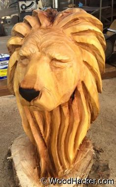 Lion head carved by Butch Elrod. Chainsaw Wood Carving, Lion Mask, Faux Taxidermy, Carven, Woodcarving, Wood Sculpture, Lions, Photo Galleries, Masks