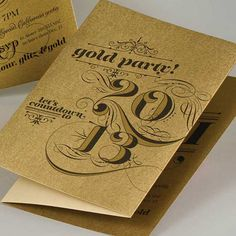 Gold party Christmas card