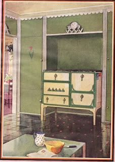 Vintage kitchen stove alcove.  Note the details:  scallop trim at ceiling and flower decal. (via Jersey Girl Blog: Planning a Vintage Kitchen)