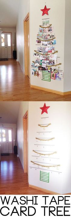 (UPDATE pg 6 w/pic!) - Page 2 Washi Tape Tree! A festive way to organize all of your holiday cards. A festive way to organize all of your holiday cards. Noel Christmas, All Things Christmas, Winter Christmas, Hanging Christmas Cards, Homemade Christmas, Cheap Christmas, Country Christmas, Christmas Baubles, Christmas 2017