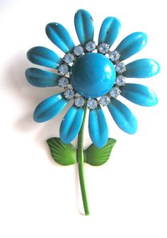 Vintage Flower and Rhinestones BroochClear by QVintage on Etsy, $20.00