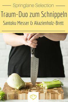Nicht nur zum Schnippeln von Fenchel, sondern auch jegliche andere Gemüsesorten, Fleisch oder Fisch eignet sich dieses Duo aus Messer und Brett perfekt!