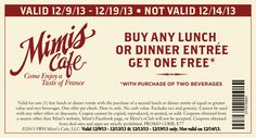 Pinned December 10th: Second lunch or dinner entree free at #Mimis Cafe #coupon via The Coupons App