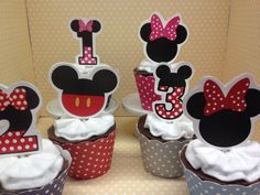Mickey and Minnie Mouse make plain cupcakes extra special for a party! They measure about 2 1/2 high and there are 10 in a set. If you need more please click on the quantity button. You can get Mickey or Minnie or both, and any number one through nine is available. Minnie is available in red or pink. When ordering please add your preference of Mickey or Minnie and your desired number. If ordering Minnie please add your color request of pink, red or a mix of both. Cupcake wrappers are…