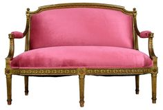 This French Louis XVI-style giltwood settee is Parisienne-femme at its best! Second Hand Sofas, Second Hand Furniture, Louis Xvi, One Kings Lane, French Furniture, Funky Furniture, Cool Chairs, Beautiful Interiors, French Interiors