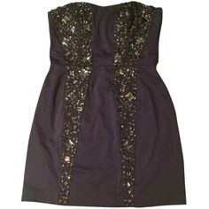 Pre-owned French Connection Solar Spark Dress (175 AUD) ❤ liked on Polyvore featuring dresses, saturn blue, purple sweetheart dress, purple dress, lining dress, sweet heart dress and zip back dress