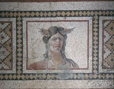 Mosaic Floor Panel with Head of Tethys, 3rd century Roman Mosaic; Made in Antioch