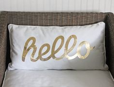How to make a trendy hello pillow from a plain pillow cover in under twenty minutes. Super easy DIY project!