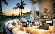 alligatorsaurus: outdoor living spaces make me :) - Architecture Article Outdoor Spaces, Outdoor Living, Outdoor Decor, Indoor Outdoor, Outdoor Lounge, Outdoor Pool, Outdoor Sofas, Pool Backyard, Backyard Paradise