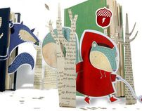 """""""Oak Park Stage was designed and branded as a children's library, using old books, and unique characters designed for the theatre. Each scene was meticulously set up using tape, paper and string and then photographed for the ad. Red Paper, Paper Art, Paper Crafts, Cut Paper Illustration, Drawing Journal, Learn To Fly, Red Riding Hood, Design Reference, Little Red"""