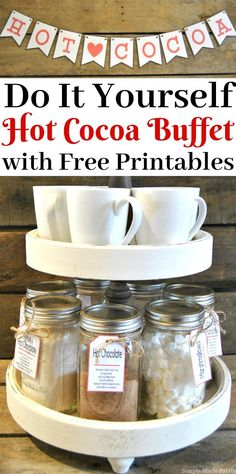 Try making this easy DIY Holiday Hot Cocoa Buffet with Free Printable Labels this winter for a fun treat for you and your family!